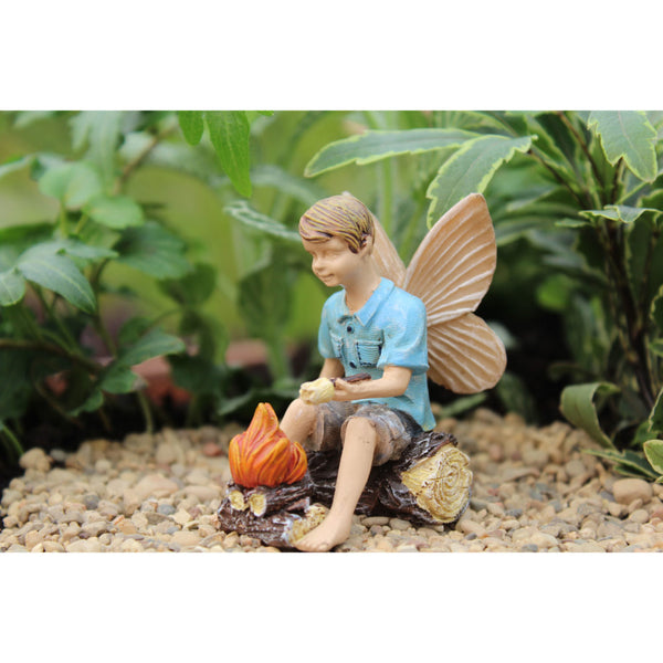 Fairy Boy with Campfire Mini Fairy: Fairy Garden Miniature Backyard Camping Theme - Baby Feathers Gift Shop