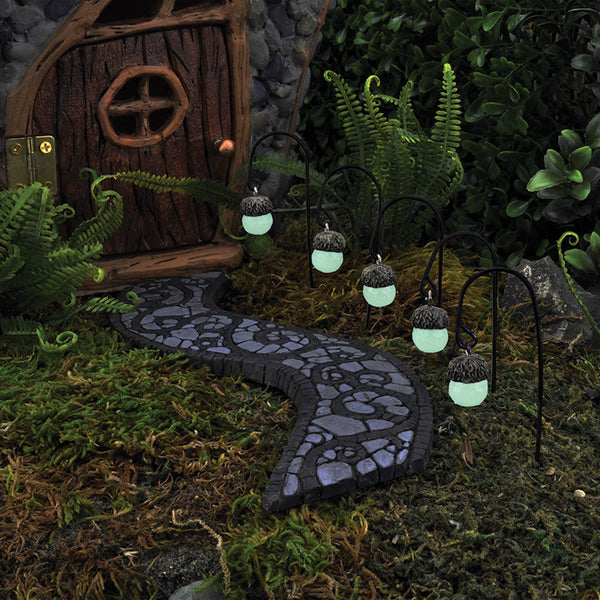 Acorn Glowing Mini Path Lights set of 5: Fairy Garden Miniature Accessories - Baby Feathers Gift Shop