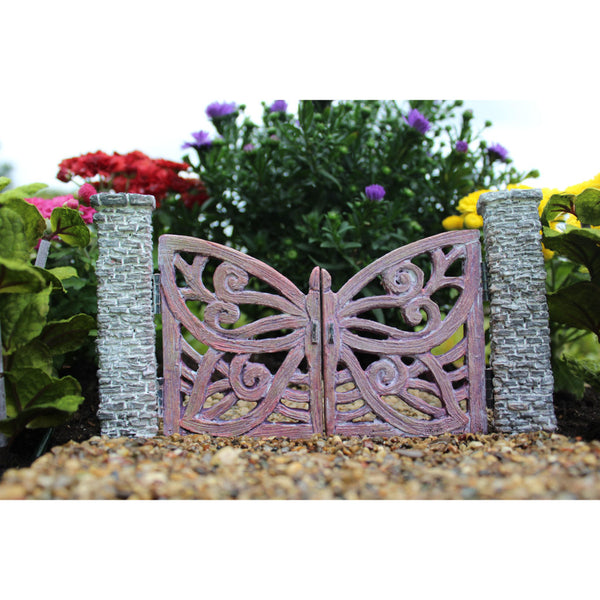 Butterfly Gate: Fairy Garden Landscaping Miniature 2 pc set - Baby Feathers Gift Shop