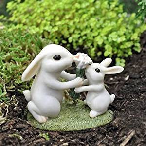 Flowers for Mom Bunny: Fairy Garden Barnyard Miniature Animal - Baby Feathers Gift Shop