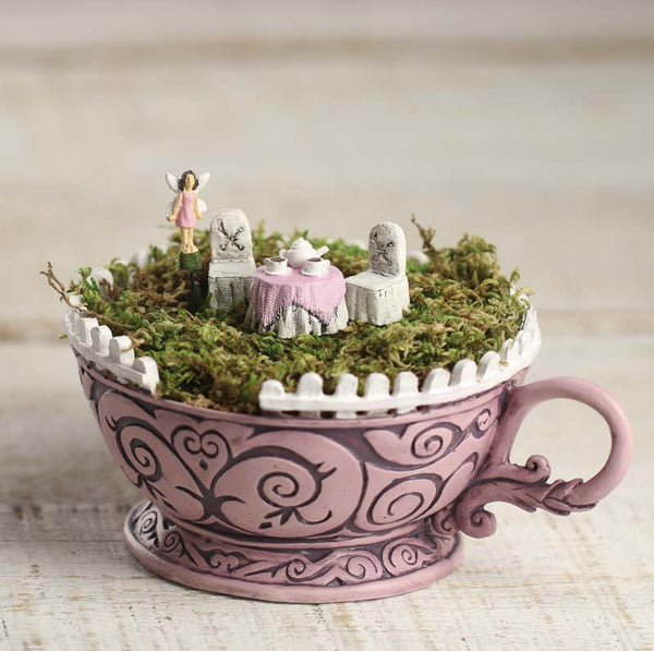 Wonderland Pink Tea Cup Planter 5 pc kit: Fairy Garden Container - Baby Feathers Gift Shop