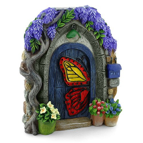 Papillon Butterfly Solar Fairy Door: Fairy Garden Landscaping Miniature Door - Baby Feathers Gift Shop