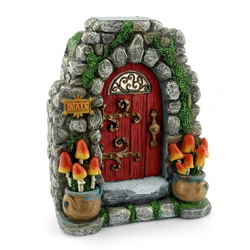 Mushroom Meadow Solar Fairy Door: Fairy Garden Landscaping Miniature Door - Baby Feathers Gift Shop