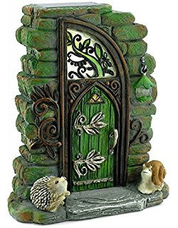 Erin Green Solar Fairy Door: Fairy Garden Landscaping Miniature Door - Baby Feathers Gift Shop