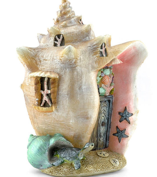 Conch Shell Mermaid Beach Miniature Fairy House: Fairy Garden Miniature House