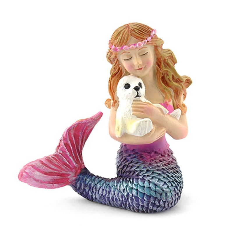 Mermaid & Baby Seal Fairy Backyard Beach Miniature Garden - Baby Feathers Gift Shop