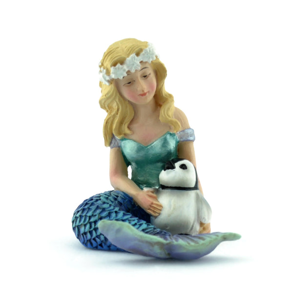 Mermaid with Penguin Fairy Backyard Beach Miniature Garden - Baby Feathers Gift Shop