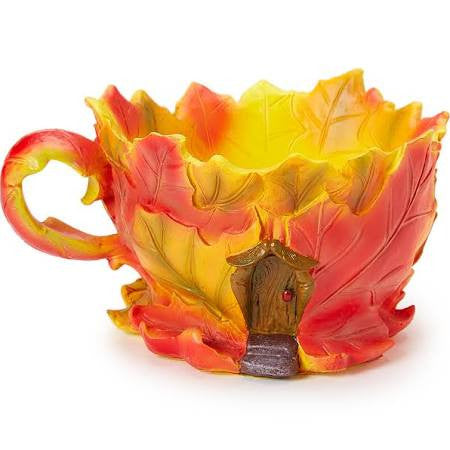 Maple Leaf Fall Tea Cup Planter: Fairy Garden Fall Thanksgiving Holiday Theme - Baby Feathers Gift Shop