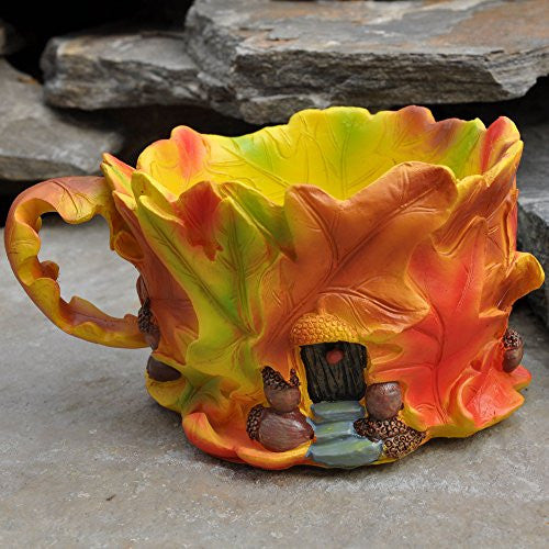 Oak Leaf Fall Tea Cup Planter: Fairy Garden Fall Thanksgiving Holiday Theme - Baby Feathers Gift Shop