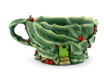 Holly Leaf Tea Cup Planter: Fairy Garden Holiday Theme - Baby Feathers Gift Shop