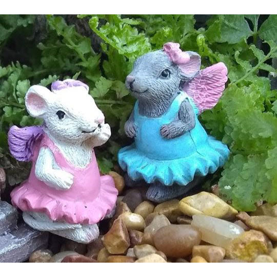 Ballet Sisters Mini Fairy: Mouse Animal Fairy Garden Miniature - Baby Feathers Gift Shop