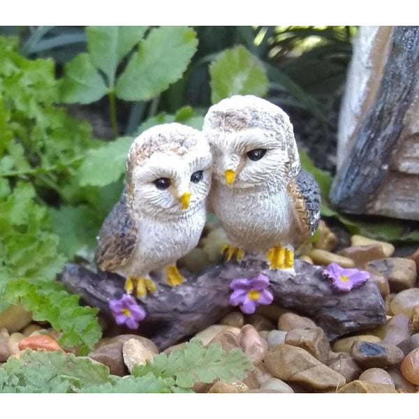 Cozy Owls Woodland Miniatures: Fairy Garden Miniature Animal - Baby Feathers Gift Shop