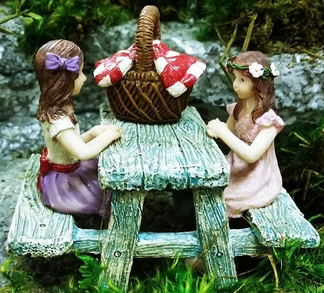 Picnic Time Mini Fairy 4 pc. Set: Fairy Garden Miniature Set - Baby Feathers Gift Shop