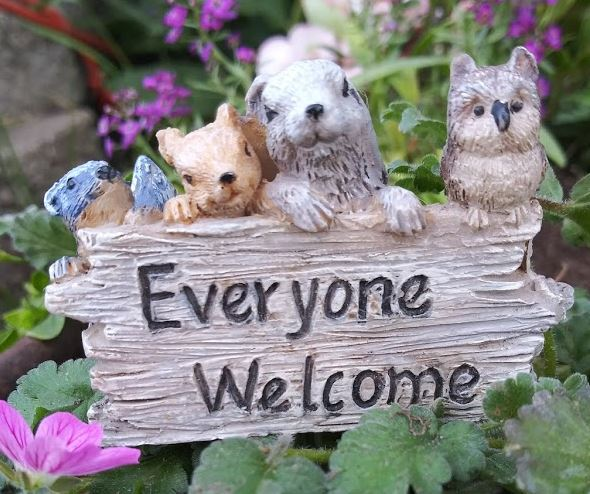 Everyone is Welcome Sign Fairy Garden, Barnyard, Dollhouse Miniature Accessories