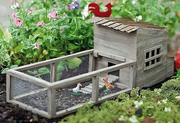 Chicken Coop with Chickens Set Barnyard Garden Miniature - Baby Feathers Gift Shop