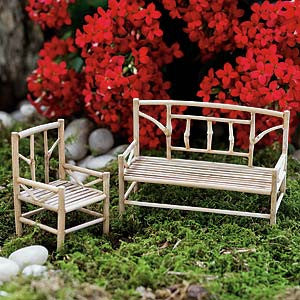 Bamboo Miniature Chair & Bench Fairy Garden Furniture - Baby Feathers Gift Shop
