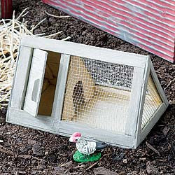 Chicken Coop with Chicken Mini Barnyard Garden Animal Miniature - Baby Feathers Gift Shop