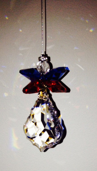 38mm Crystal Starburst Angel with Red, White & Blue Crystal Octagons - Baby Feathers