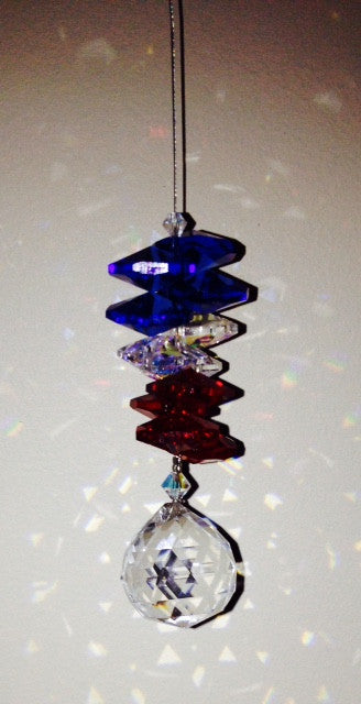 20mm Hanging Crystal Ball with Red, White & Blue Crystal Cascade - Baby Feathers Gift Shop