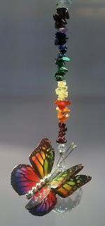 30mm Butterfly Hanging with stones - Baby Feathers Gift Shop