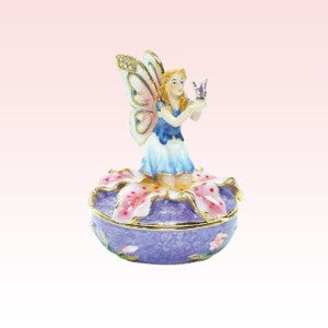 Fairy on Lilly Jeweled Box - Baby Feathers Gift Shop
