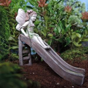 Fairy Playing on a Slide: Miniature Fairy Garden Backyard Mini Fairy Landscape - Baby Feathers Gift Shop