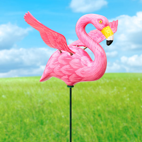 Flamingo WindyWings Pot Stakes Garden Stake - Baby Feathers Gift Shop