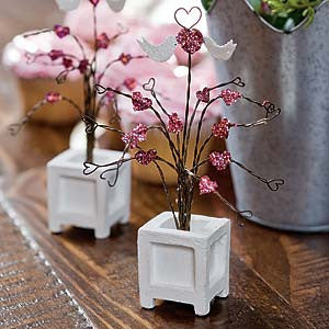 Love Birds Topiary Fairy Garden Miniature Furniture - Baby Feathers Gift Shop