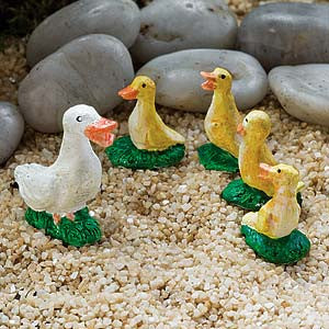 Duck and Ducklings Animal Miniature Barnyard Set: Fairy Garden Miniatures - Baby Feathers Gift Shop
