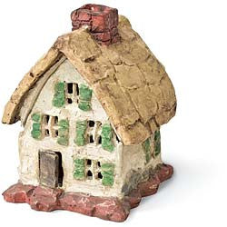 Country Thatched Roof Cottage: Fairy Garden Miniature House - Baby Feathers Gift Shop