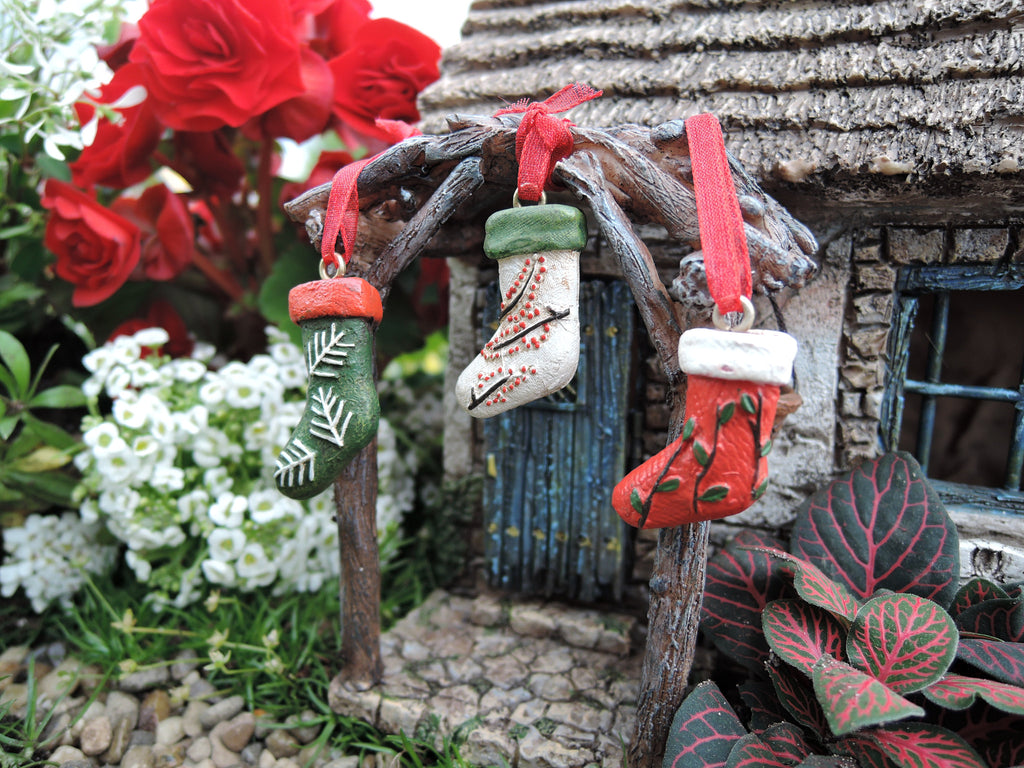 Christmas Stockings Miniatures Set of 3: Fairy Garden Holiday Theme - Baby Feathers Gift Shop