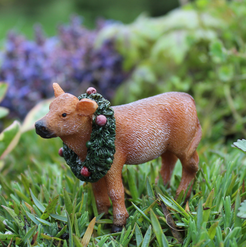 Annabelle the Barnyard Animal Christmas Calf: Fairy Garden Holiday Theme - Baby Feathers Gift Shop