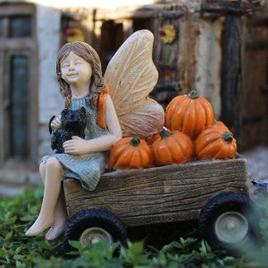 Gretchen with Puppy Mini Fairy: Fairy Garden Miniature: Animal Miniature - Baby Feathers Gift Shop