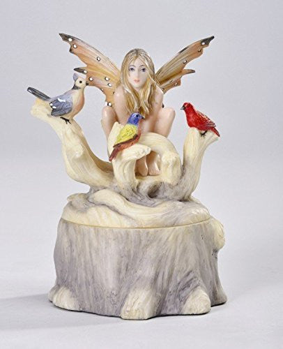 Call of The Wild Fairy on Stump Jewelry Trinket Box Figurine - Baby Feathers Gift Shop