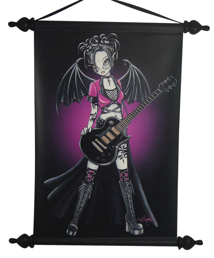 Myka Jelina Art Wall Scroll: Leslie Gothic Rock Fairy - Baby Feathers Gift Shop