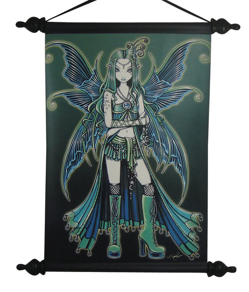 Myka Jelina Art Wall Scroll: Zoe Gothic Rock Fairy - Baby Feathers Gift Shop