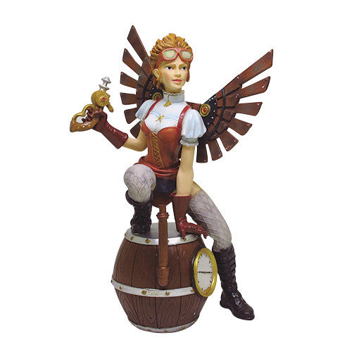 Steampunk Fairy Sitting on Barrels Statue Figurine - Baby Feathers Gift Shop