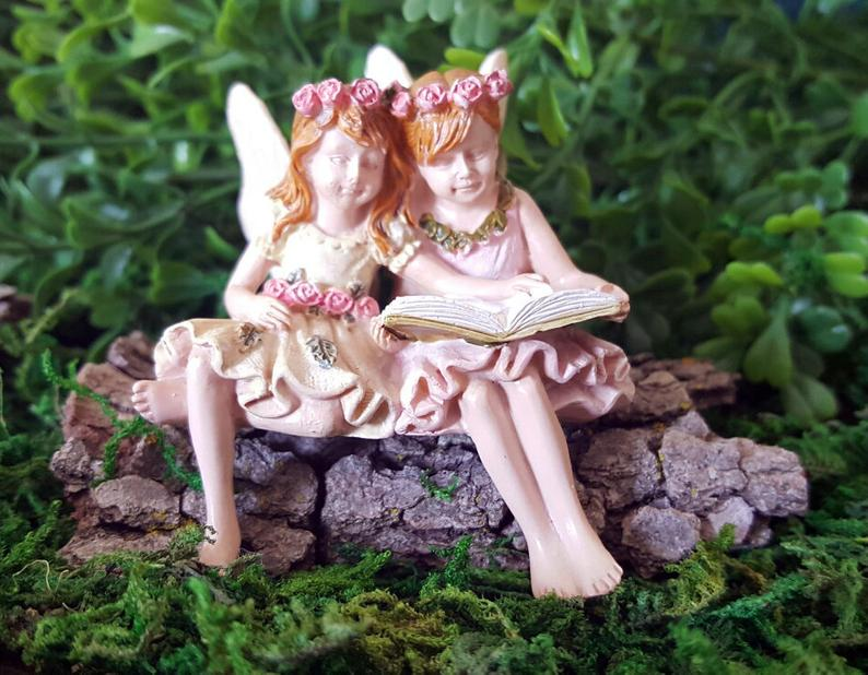 Fairy Paige & Phoebe Reading Miniature Fairies: Doll House Miniature - Baby Feathers Gift Shop