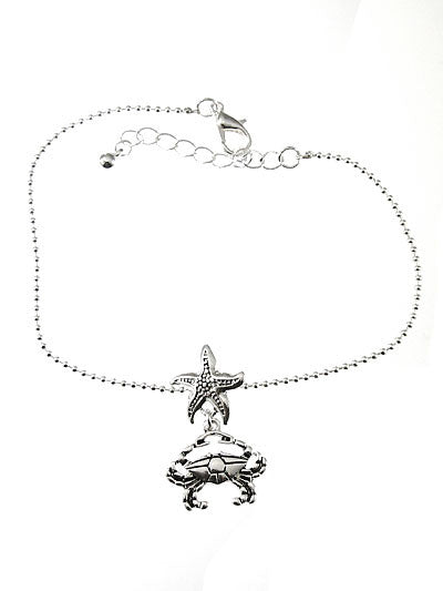Crab & Starfish Chain Anklet Bracelet - Baby Feathers Gift Shop