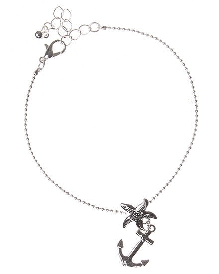 Anchor & Starfish Chain Anklet Bracelet - Baby Feathers Gift Shop