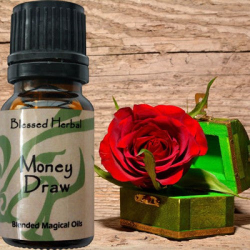Money Draw Blessed Herbal Oil: Honey Suckle, Patchouli Essential Oil Blend - Baby Feathers Gift Shop