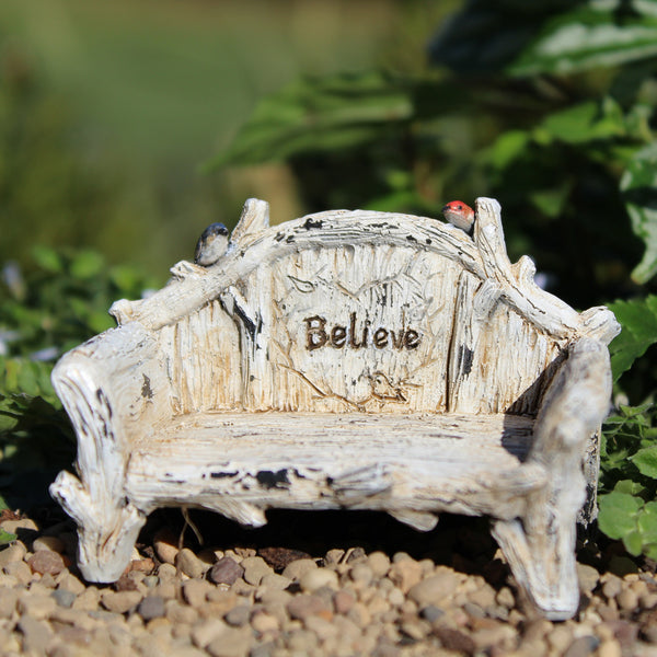 Believe Bench: Dollhouse: Fairy Garden Miniature Furniture - Baby Feathers Gift Shop