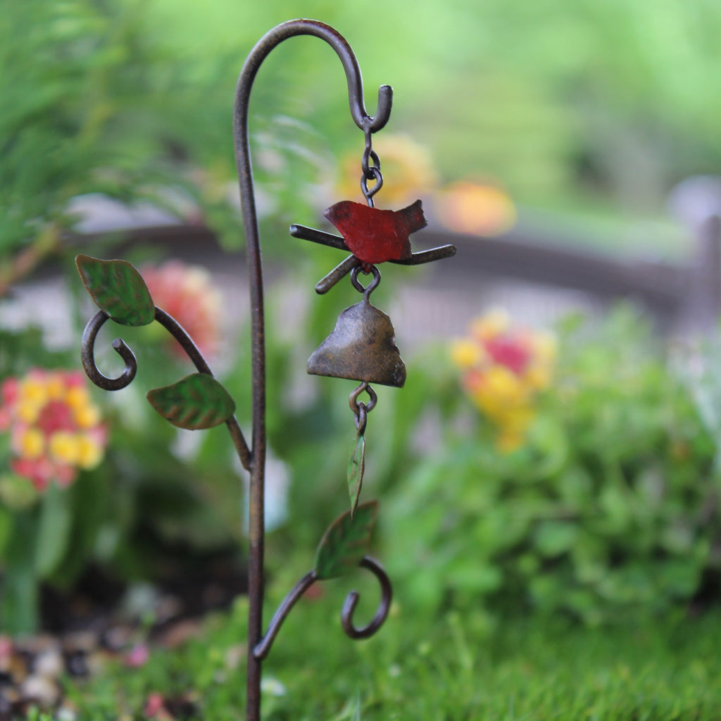 Bird Windchime (metal): Fairy Garden Miniature Accessories - Baby Feathers Gift Shop
