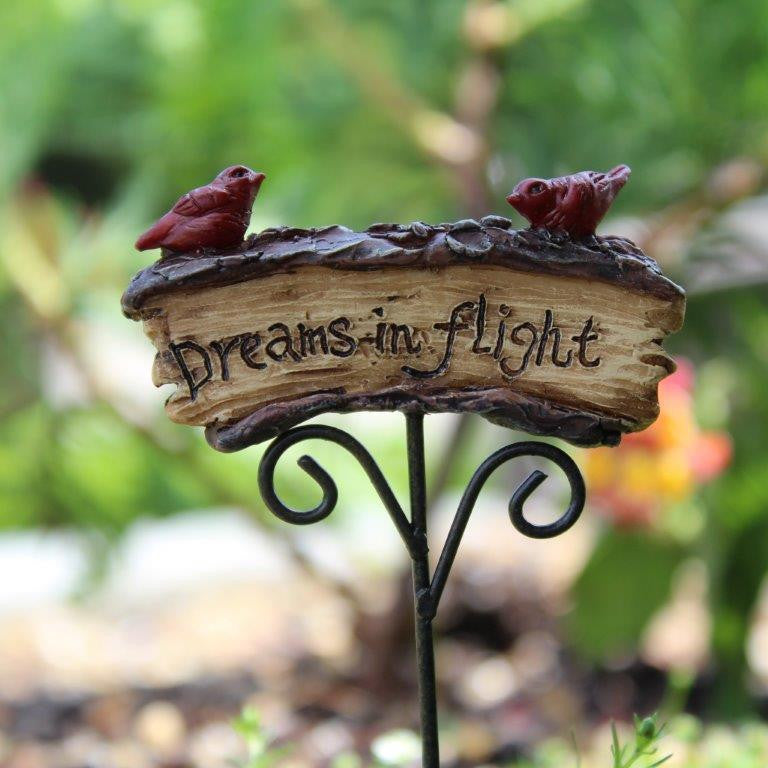 Dreams 'n Flight Sign Fairy Garden Miniature Accessories - Baby Feathers Gift Shop