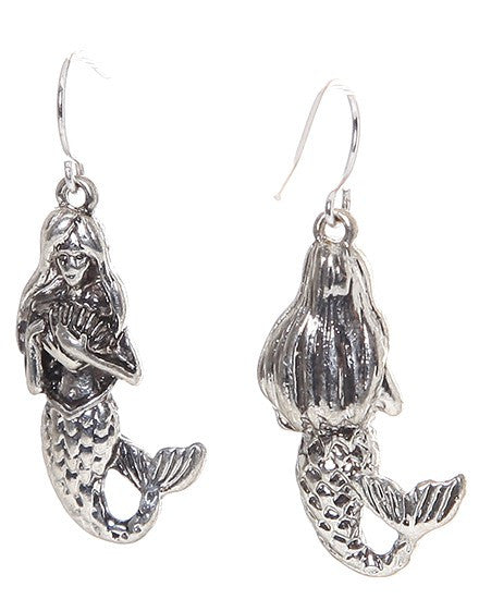 Mermaid 3 D Earrings: Fish Hook & Clip On - Baby Feathers - 3