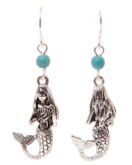 Mermaid 3 D Earrings: Fish Hook & Clip On - Baby Feathers - 1