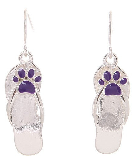 Flip Flop & Paw Print Fish Hook Earrings - Baby Feathers Gift Shop