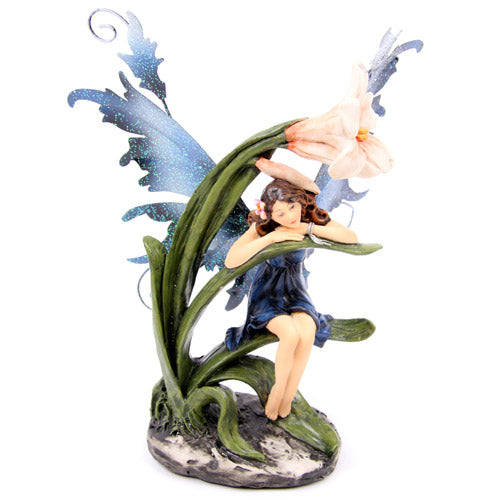 Legends of Avalon Fairy on Lily Leaf Figurine - Baby Feathers Gift Shop