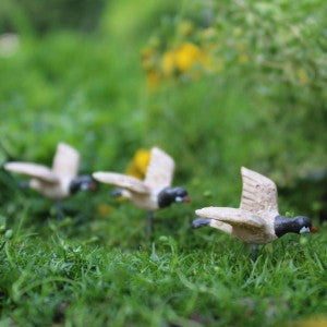 Flying Geese set of 3: Fairy Garden Animal Miniature - Baby Feathers Gift Shop