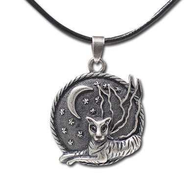 Tiger Fairy Moon Disc Pendant with Rope Necklace: Carrie Hawks
